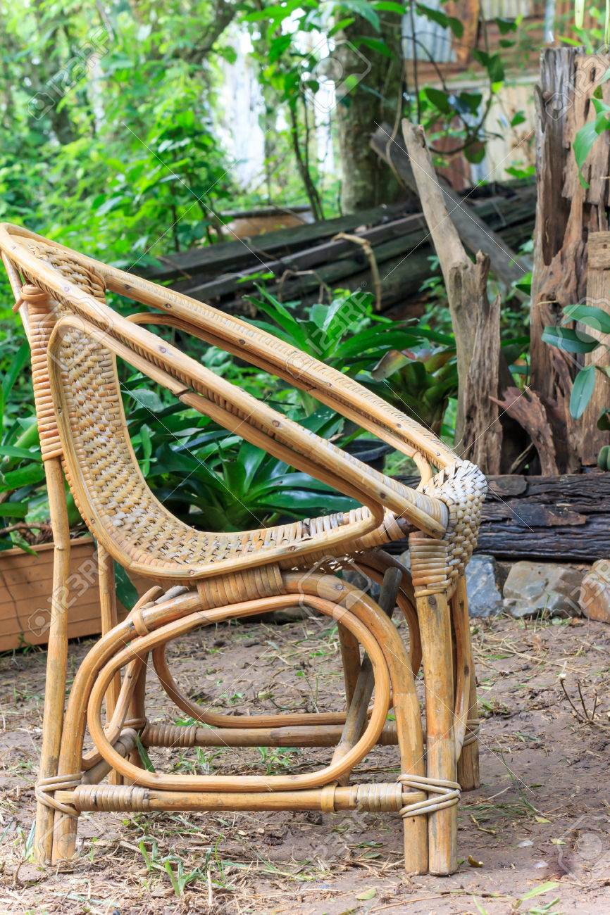 Old Wicker Chair In Garden Stock Photo   41504909