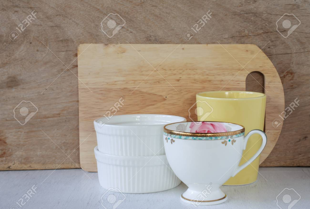 Stock Photo   Vintage Kitchenware On Wooden Background, Cozy Home Rustic  Decor, Cottage Living, Soft Pastel Colors