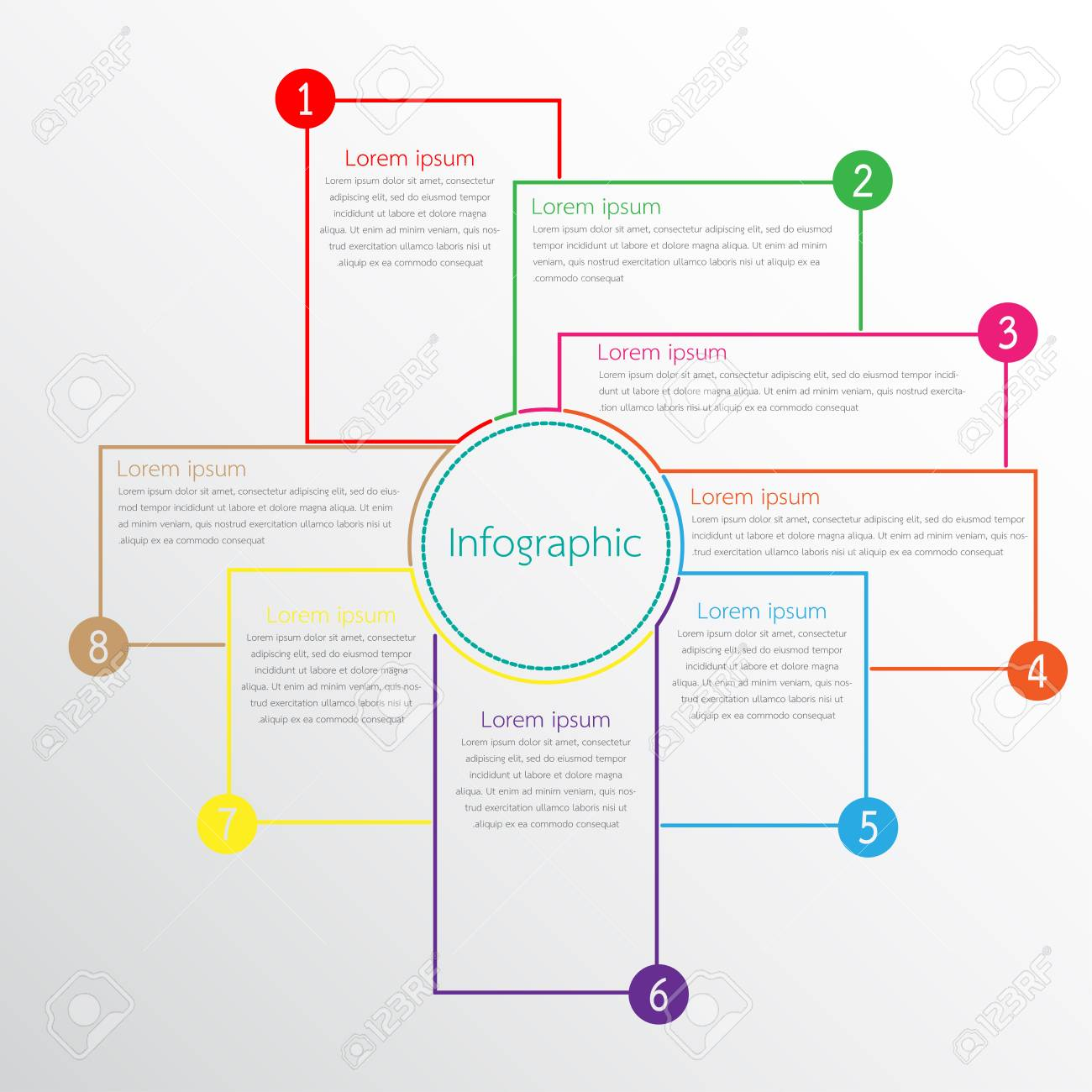 Vector infographic templates used for detailed reports. All 8 topics. - 104946975