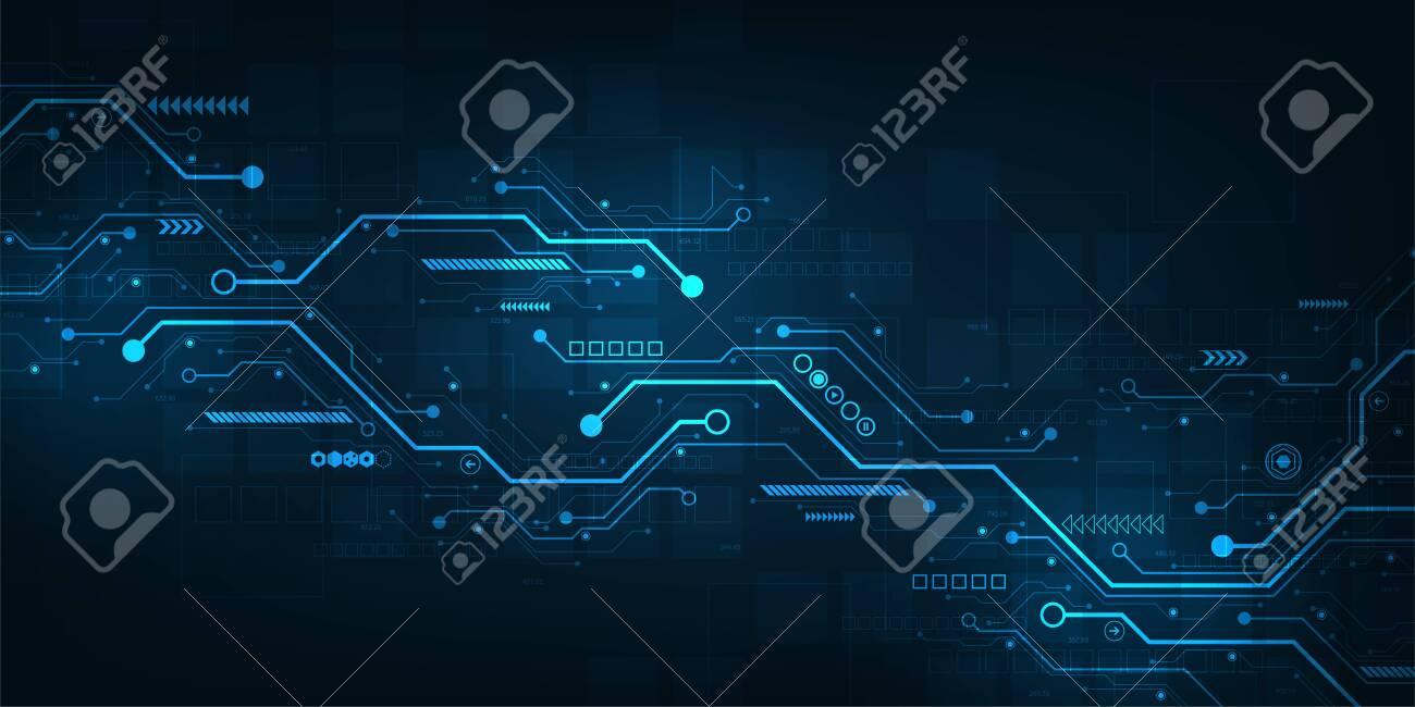 Digital circuit design on a dark blue background. - 148393702