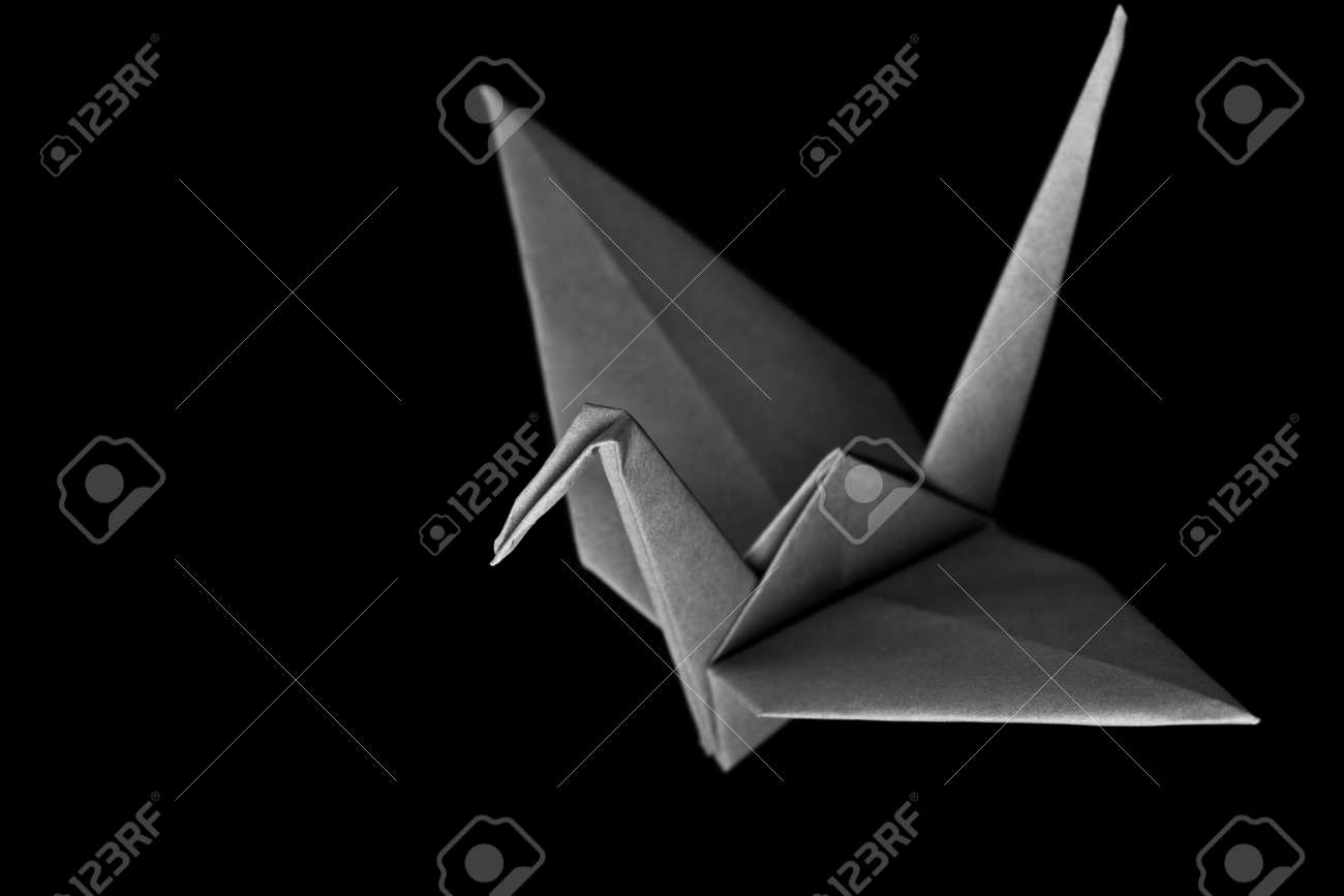 An origami bird on a black background Stock Photo - 3263028
