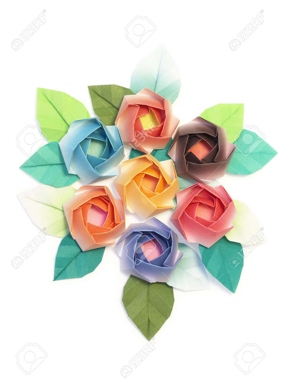 7 origami roses decoration on a white background Stock Photo - 3645149