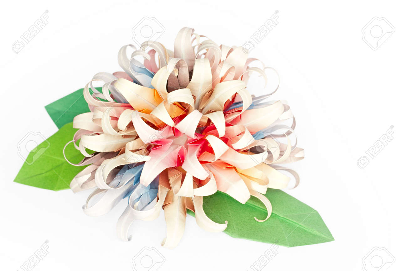 Colourful Origami Flower Ball On A White Background Stock Photo