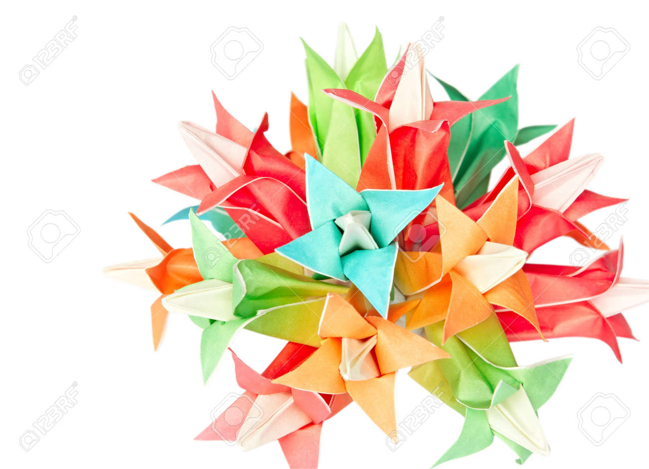 Colourful Origami Flower Ball Isolated On A White Background Stock