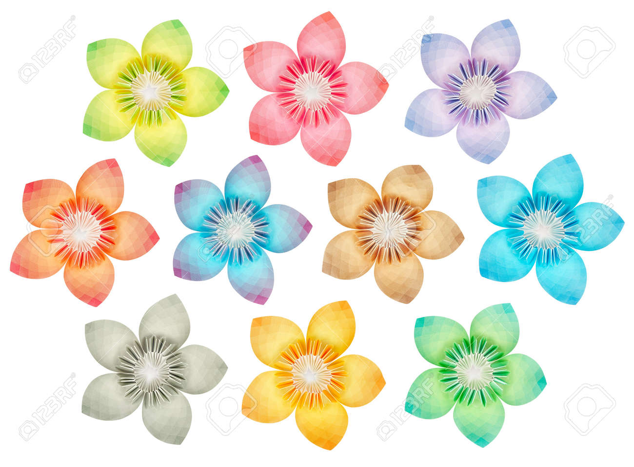 10 Isolated Paper Flowers On A Pure White Background Stock Photo