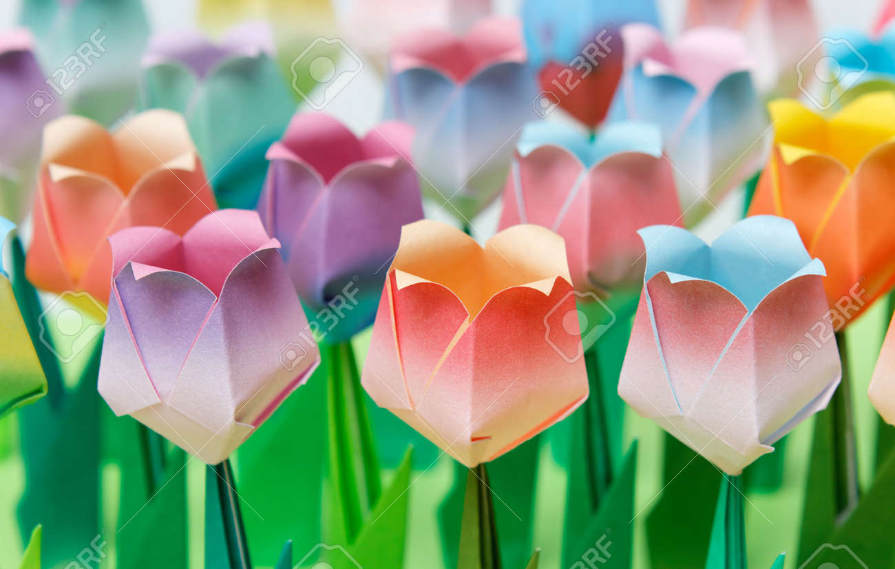 Colourful paper tulip field. Shallow depth of field. Focus on the front row. Stock Photo - 6821524