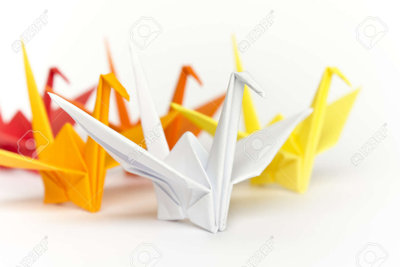 A group of colourful paper birds, shallow depth of field Stock Photo - 9195256