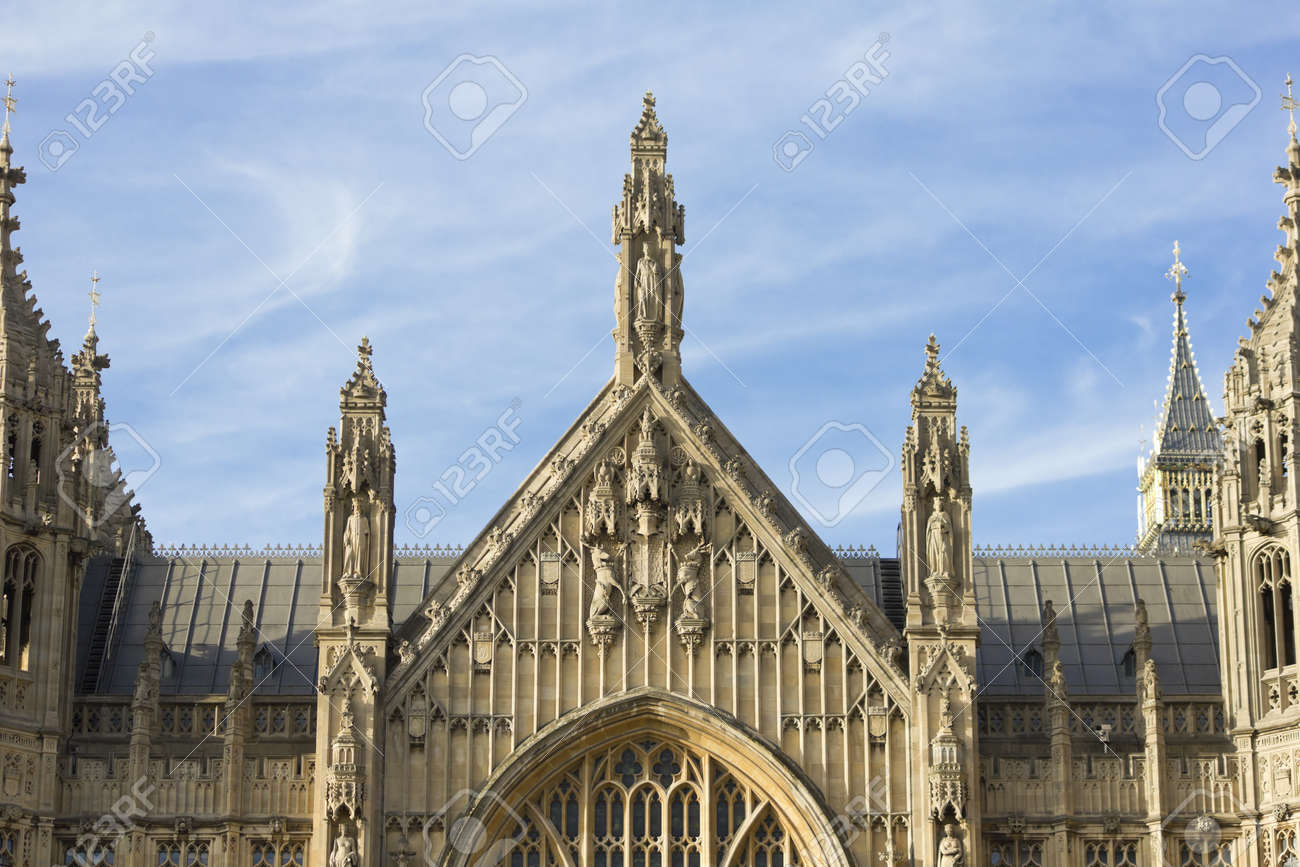 Building exterior the Palace of Westminster above Old Palace Yard Stock Photo - 9526236