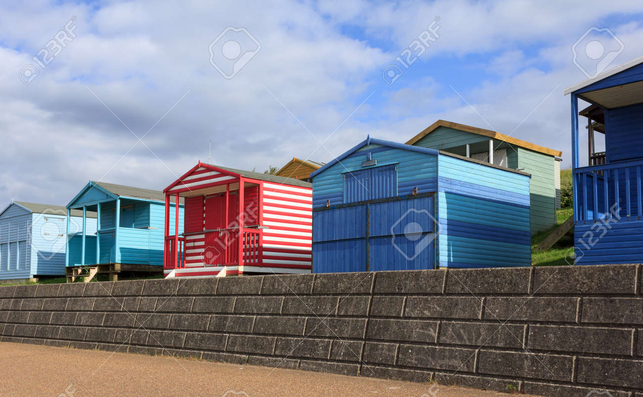 Colourful beach huts in Whitstable, Kent, UK Stock Photo - 31961858