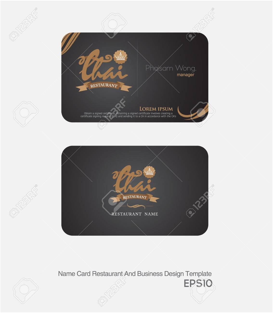 Restaurant Card And Business Card Layout And Template. Royalty Free ...