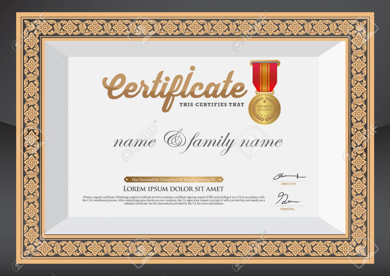Gold Certificate Of Completion Template Royalty Free Cliparts