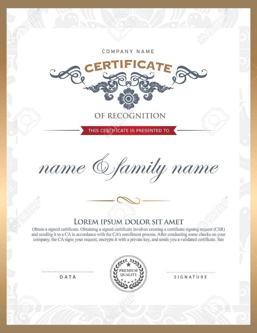 Certificate Template. Can Be Rectangular White Superimposed On ...