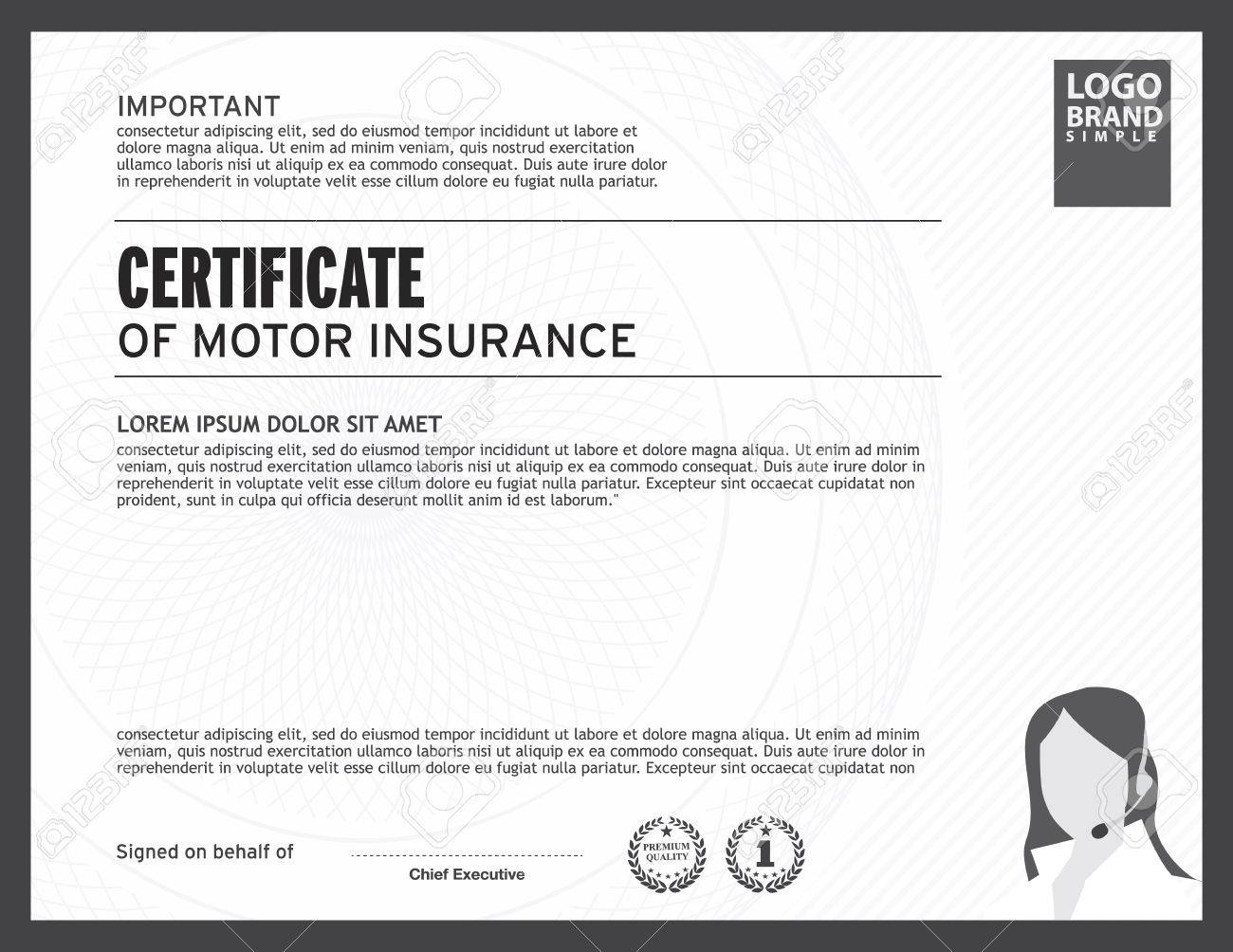 Certificate Of Motor Insurance Template. Stock Vector   41637268
