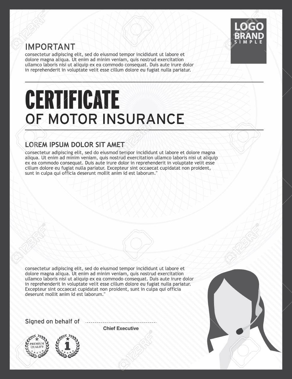 Certificate Of Motor Insurance Template. Royalty Free Cliparts ...