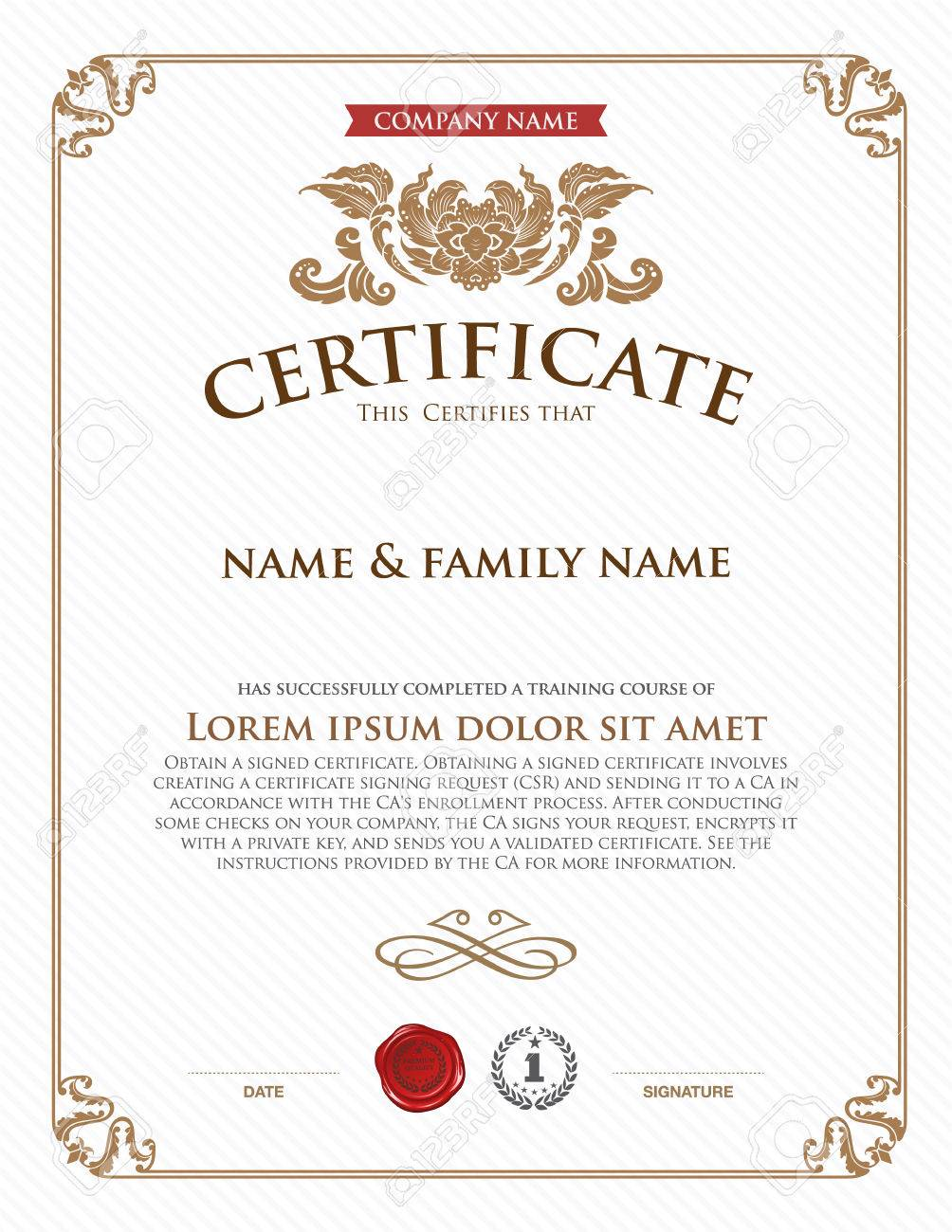 Certificate Template. Royalty Free Cliparts, Vectors, And Stock ...