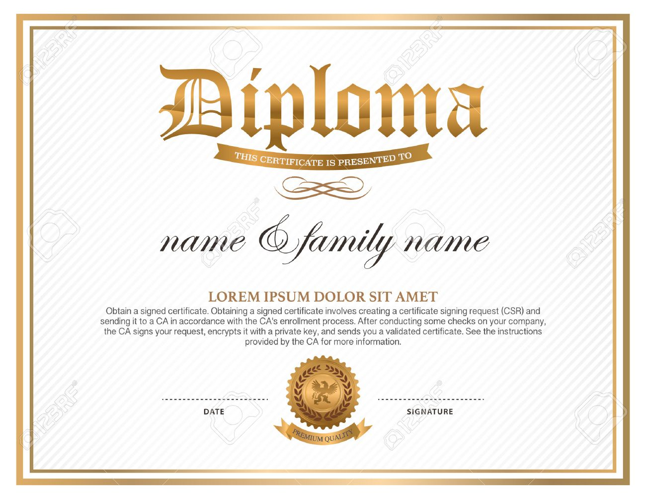 diploma certificate design template royalty free cliparts vectors