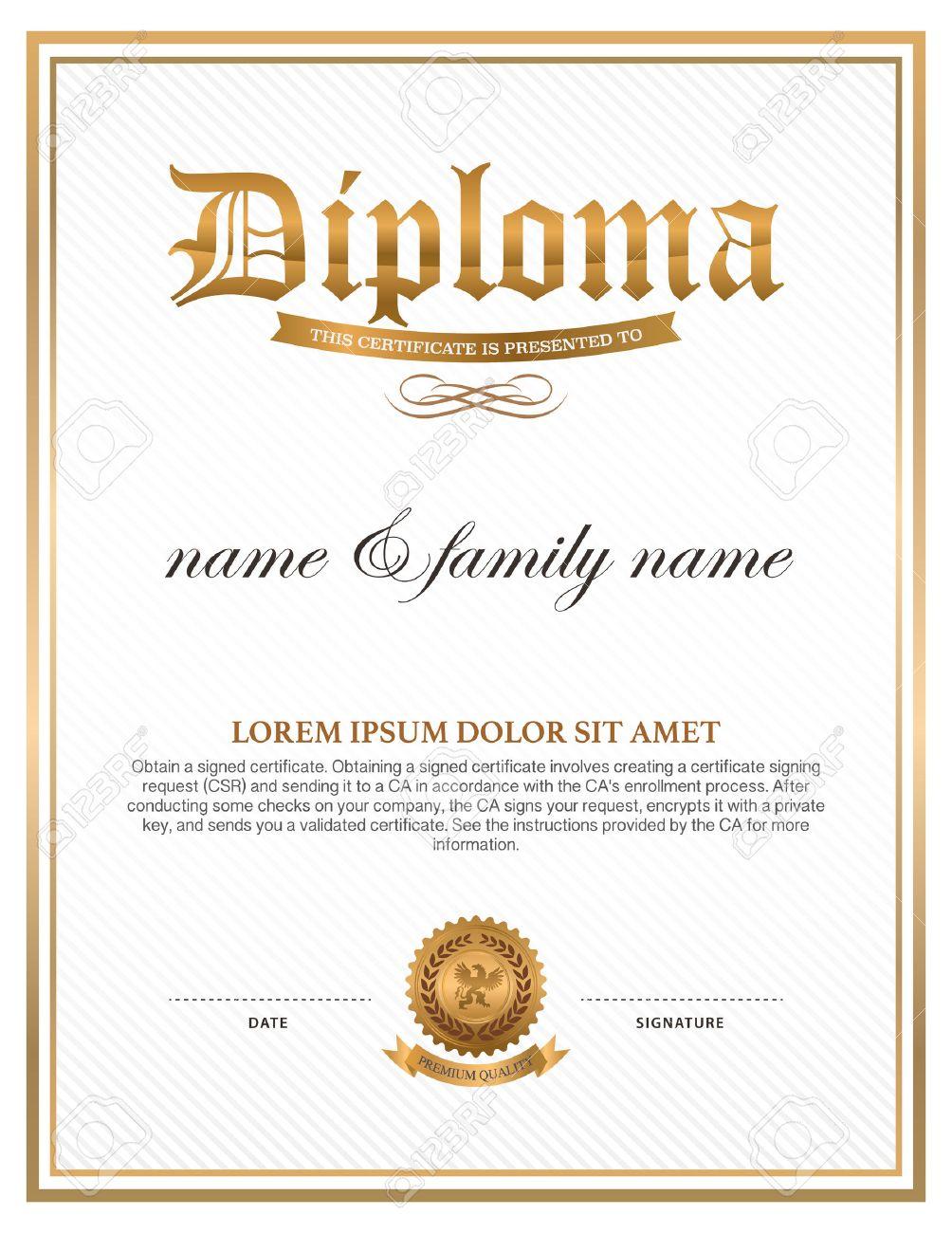 Diploma, Diseño De La Plantilla De Certificado Ilustraciones ...