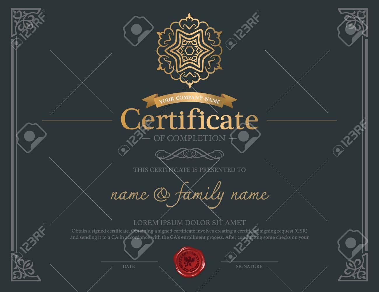 Diseño De La Plantilla De Certificado. Ilustraciones Vectoriales ...