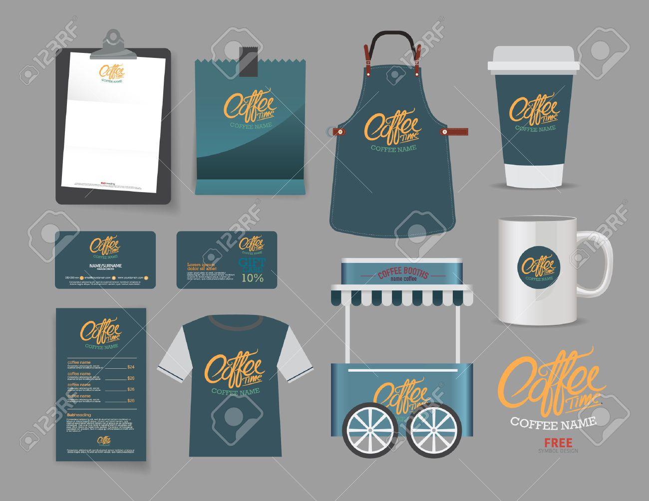 Shirt design card - Vector Coffee Booth And Restaurant Set T Shirt Menu Name Card And Free Symbol Design