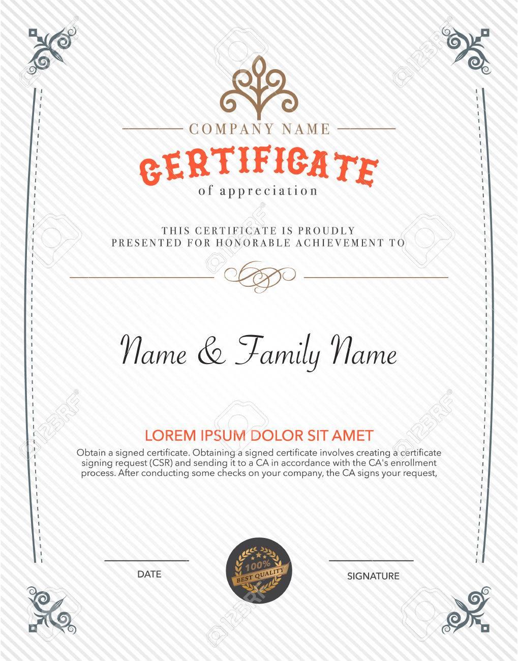 Vintage Retro Frame Art Certificate Design Template