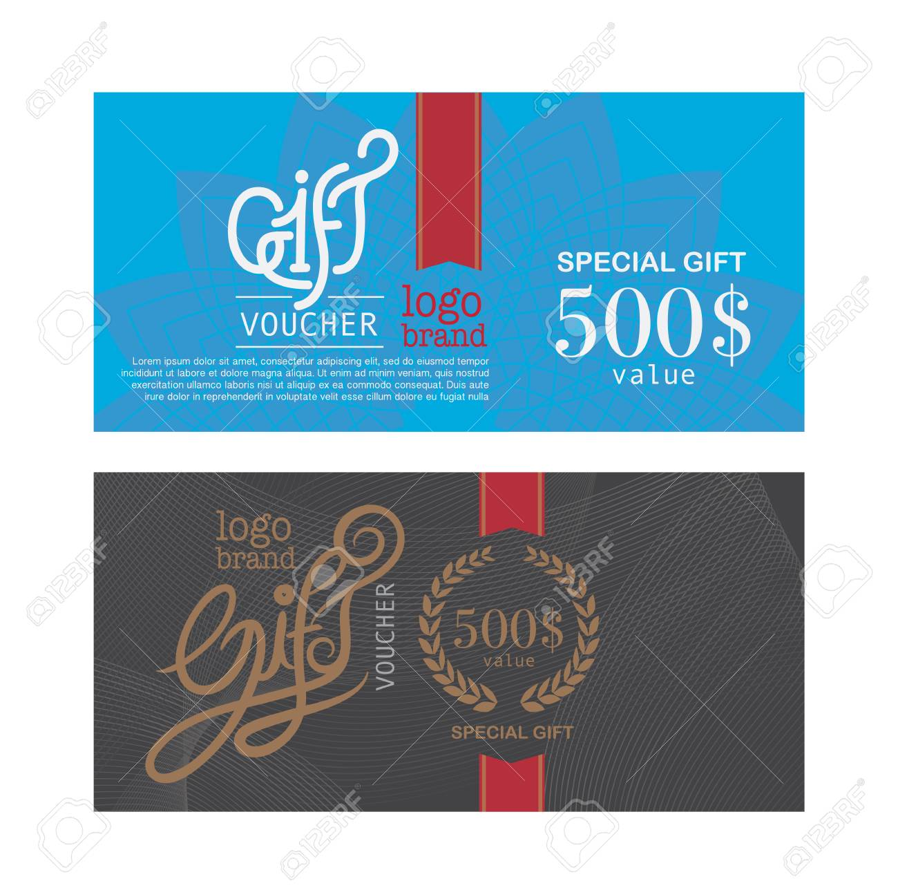 Voucher Template With Premium Modern Logo Pattern. Vector Royalty ...
