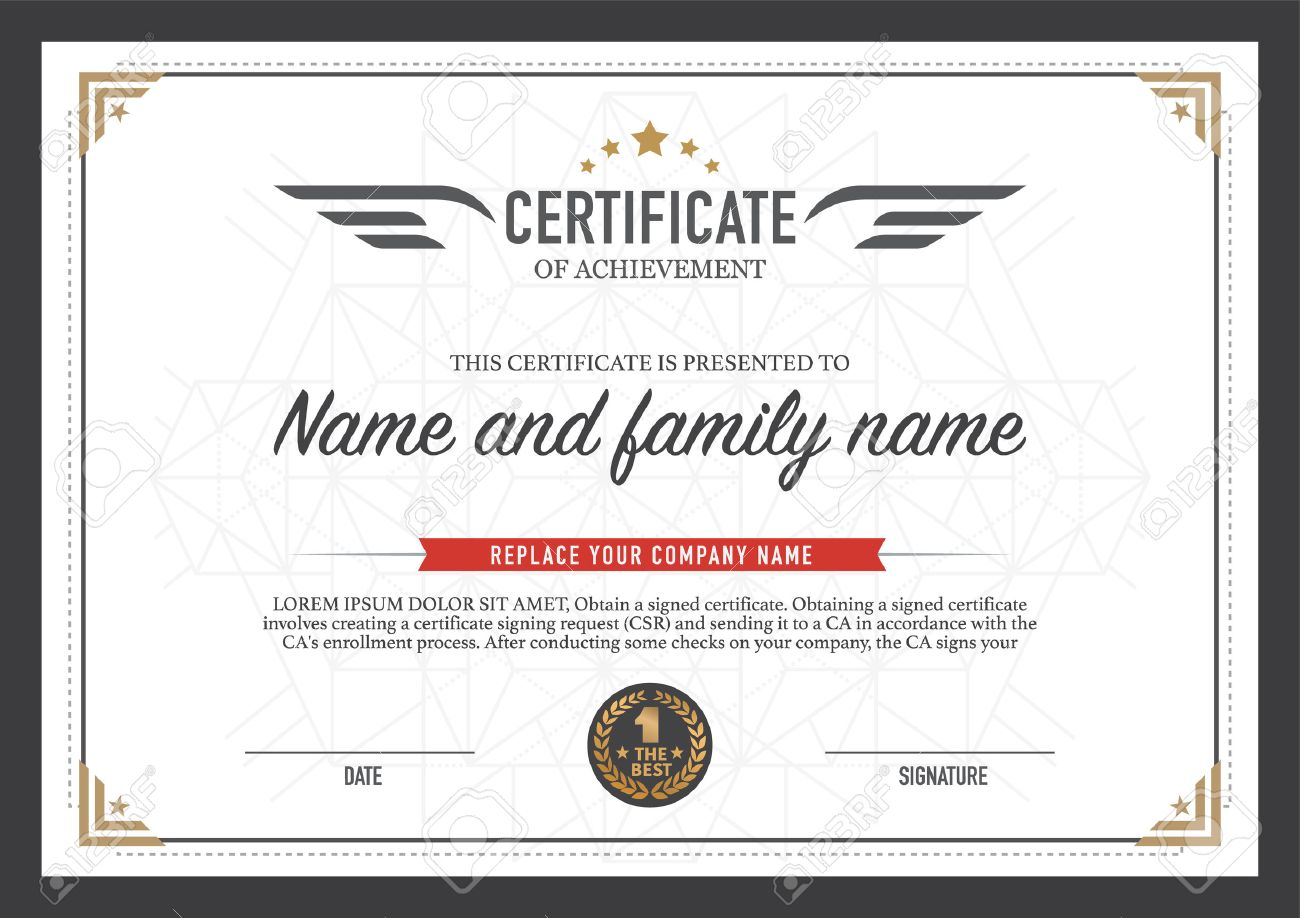 Certificate Design Template. Royalty Free Cliparts, Vectors, And ...
