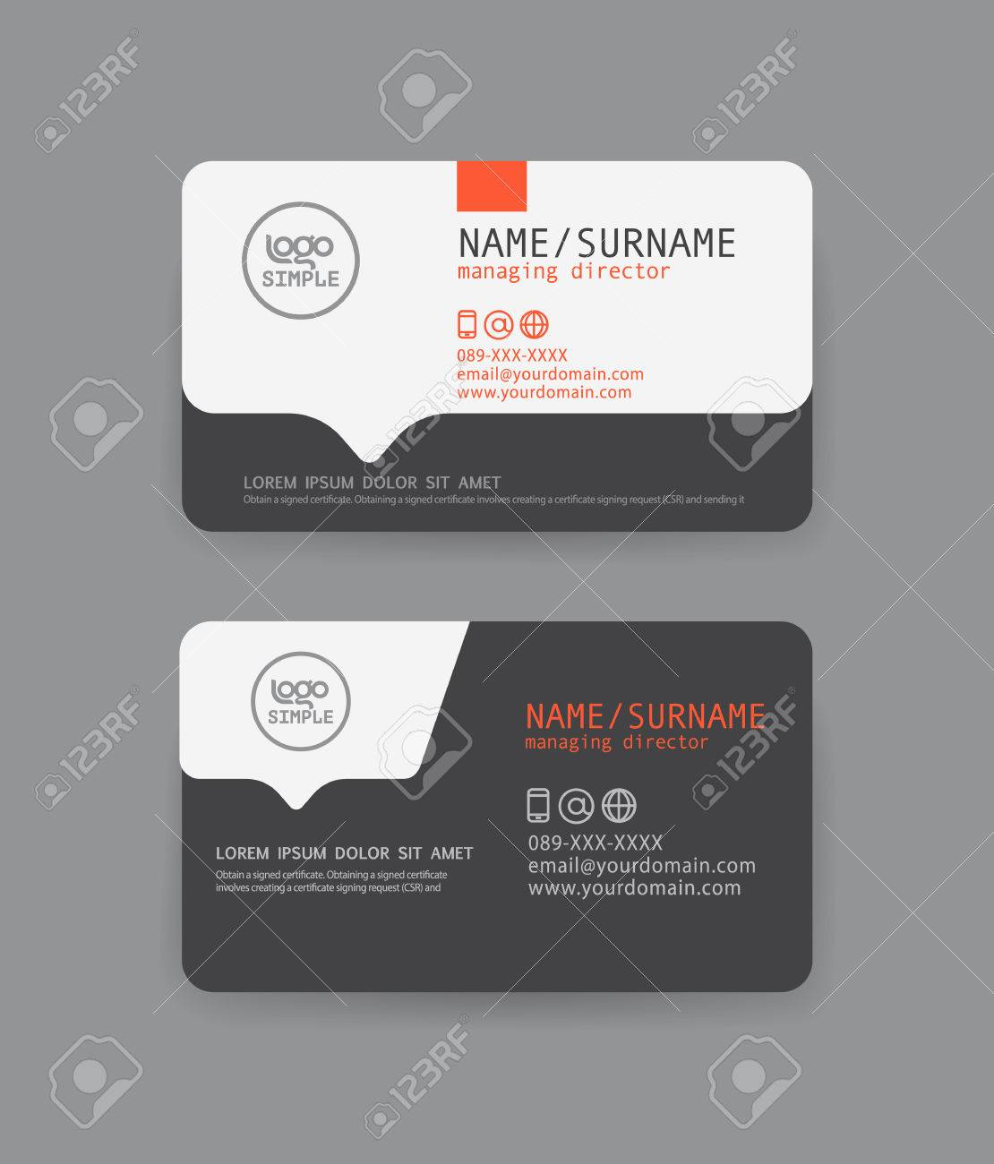 Vector Modern Clean Business Card Template. Flat Design Royalty ...