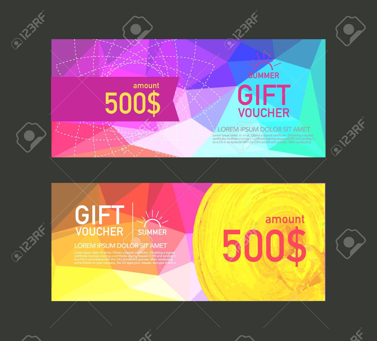 voucher design template vector royalty free cliparts vectors and