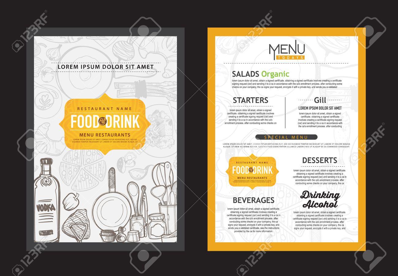 Vector Vintage Food Design Template. Menu Restaurant Brochure ...
