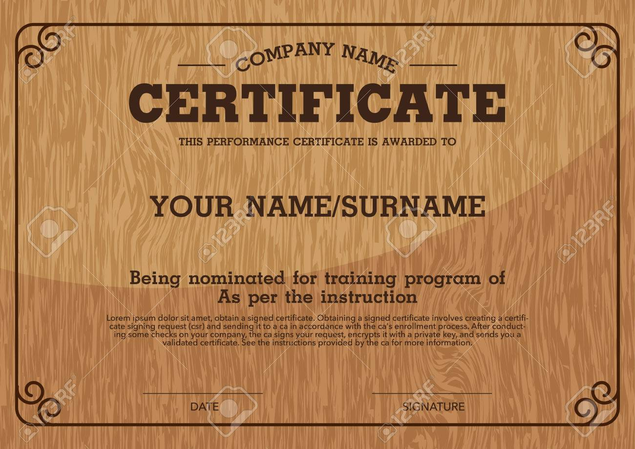 Vector Wood Backgroundperformance Certificate Template Royalty Free