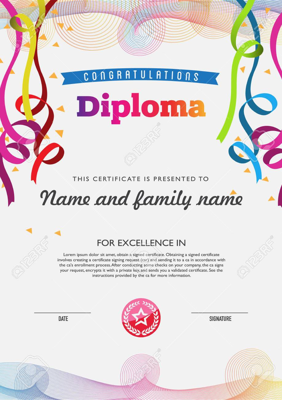 diploma color full template and chart borders royalty  diploma color full template and chart borders stock vector 42471302