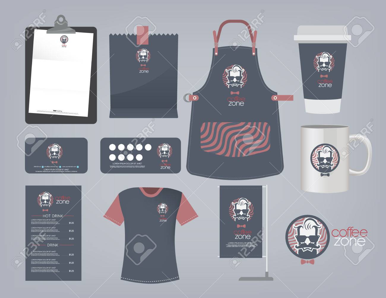 Vector Coffee Restaurant Set And Logo T Shirt Menu Namecard