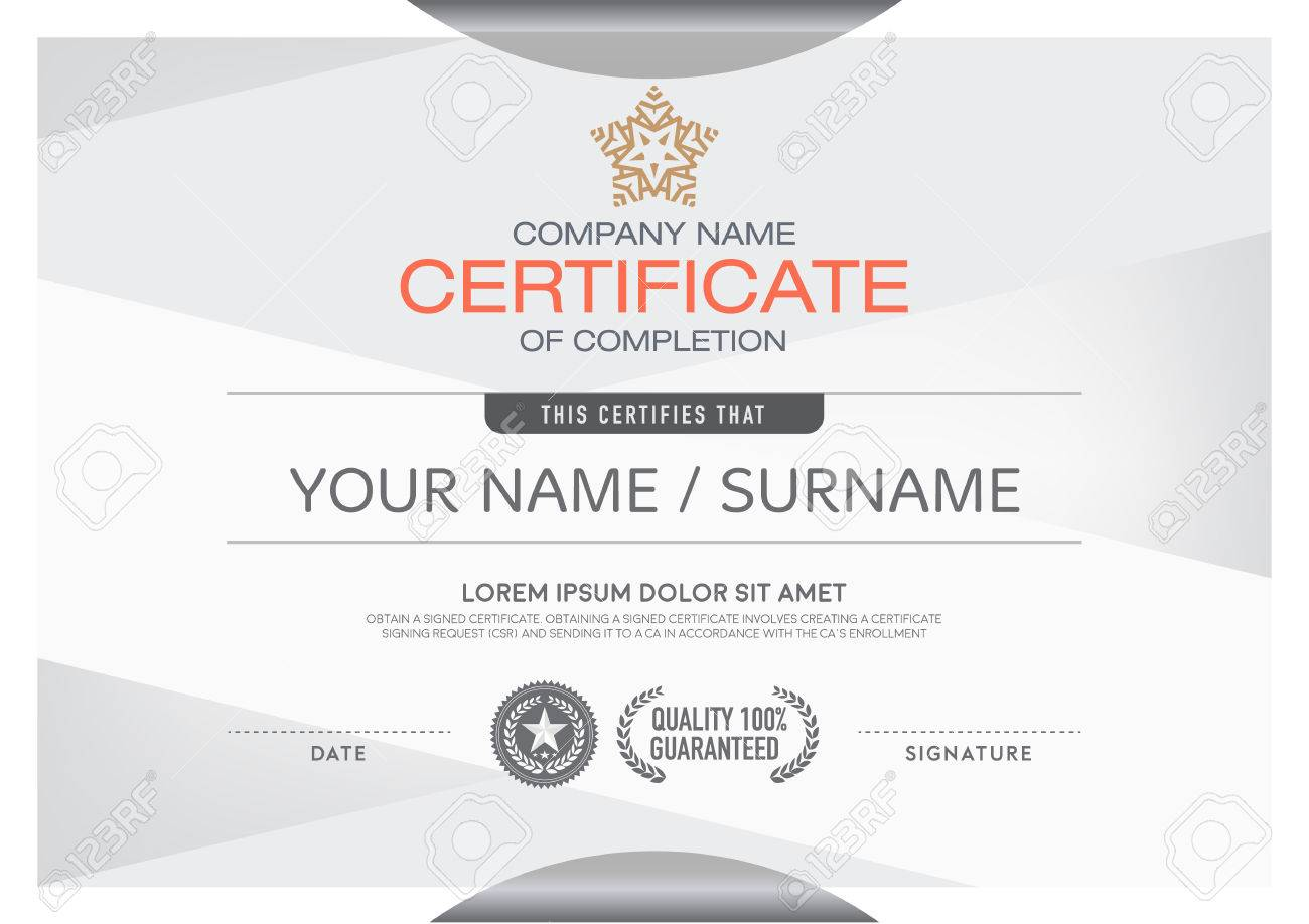 Certificates Modern And Clean Color And Placement Of The Sample – Sample Certificates