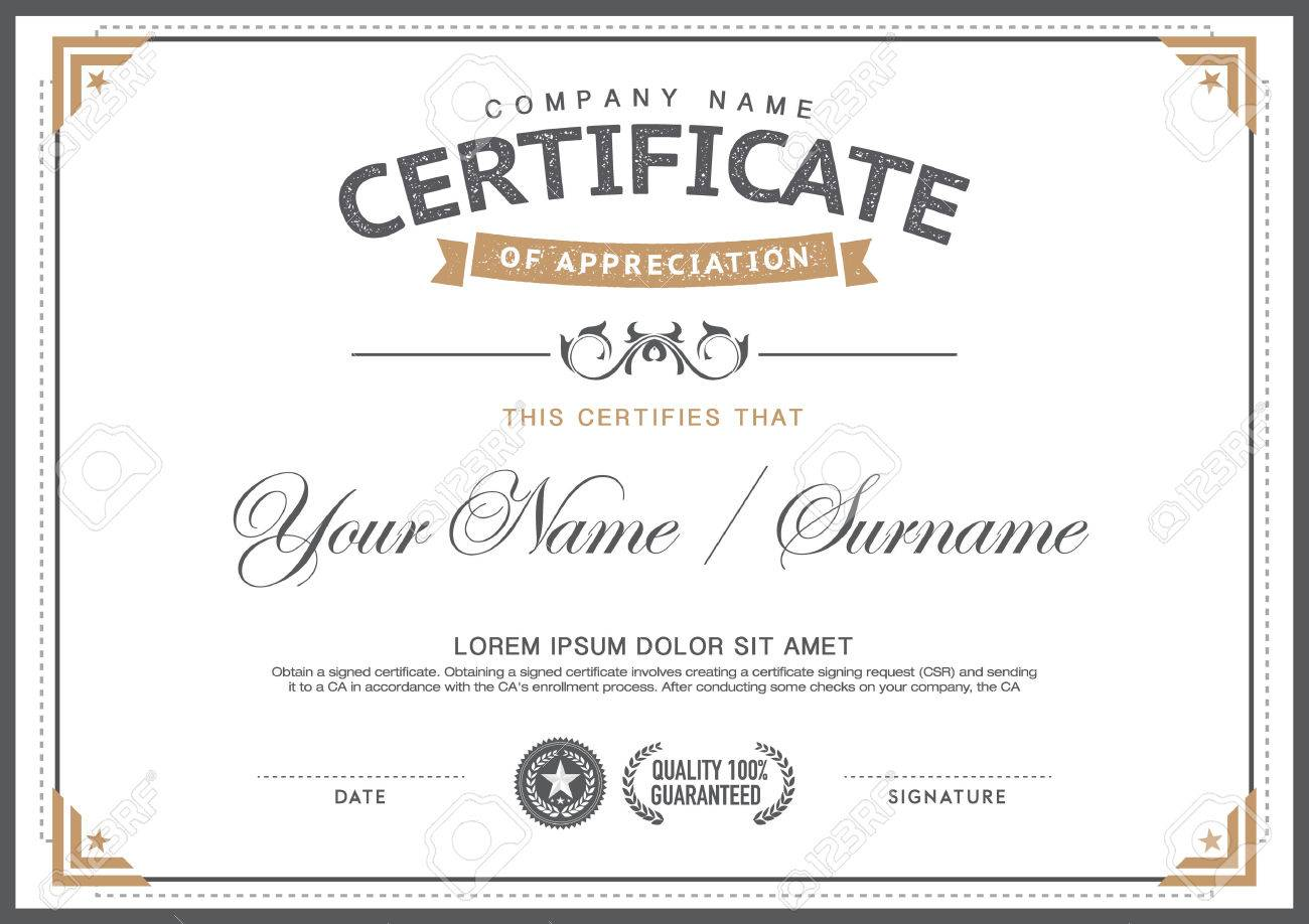 Vintage Certificate Template. Smart,clean,hipster Royalty Free ...