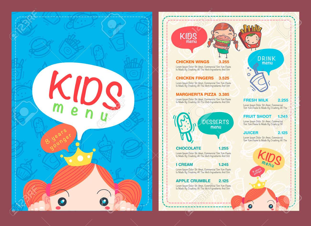 Vector Kids Menu Template And Hand Draw Symbol And Icon Royalty – Free Kids Menu Templates
