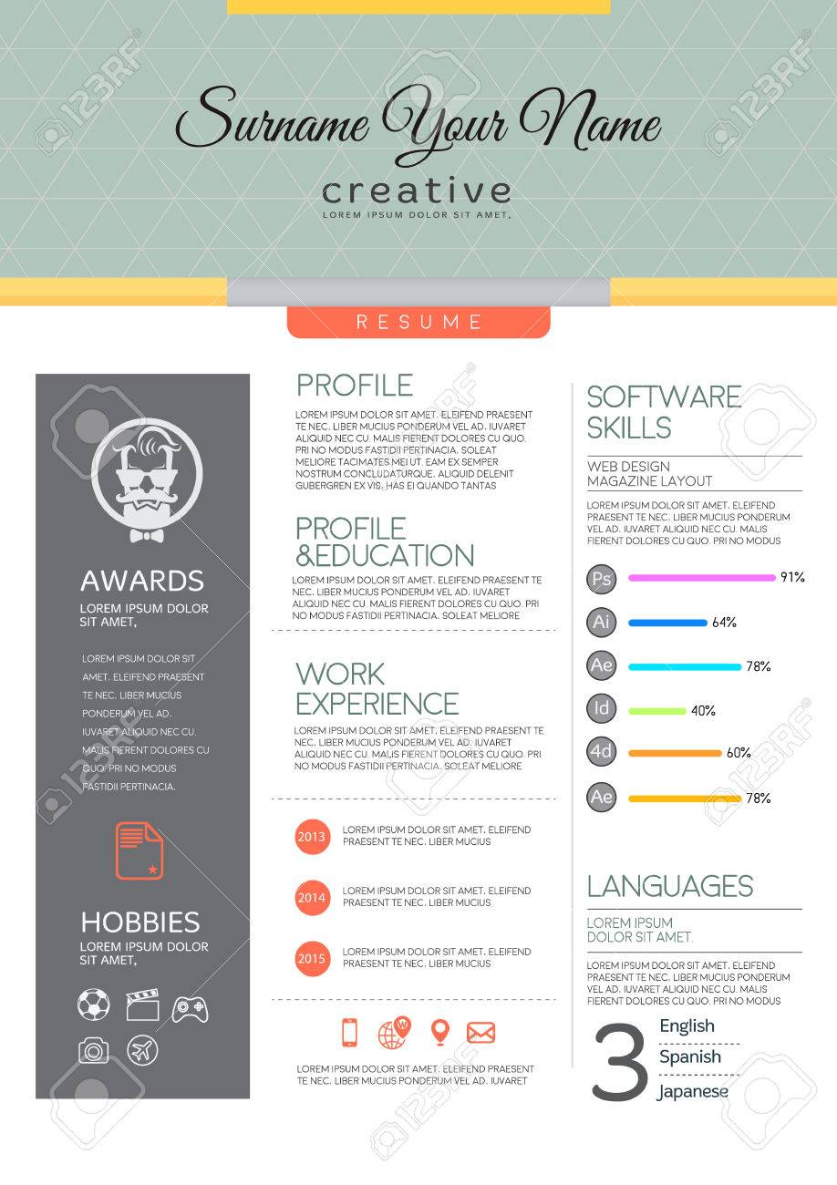 vector resume template cv brochure layout magazine royalty free