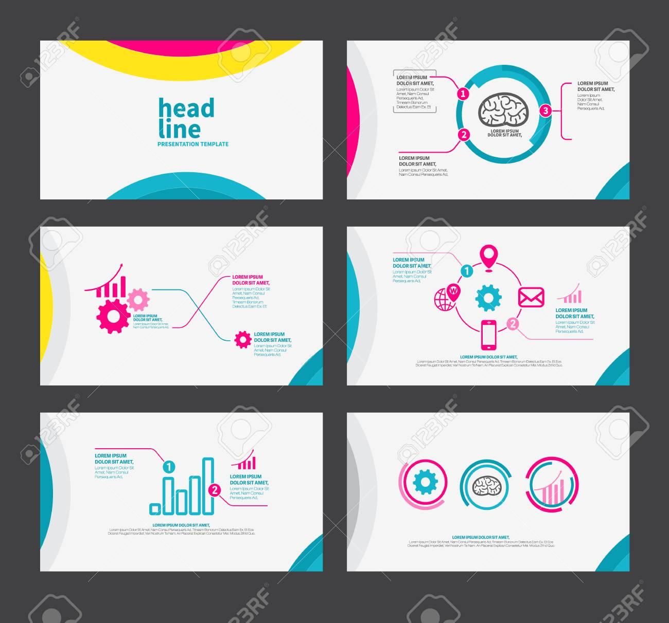 92759d594a Design piatto modello di presentazione impostato per brochure marketing e  pubblicità e icona Archivio Fotografico -