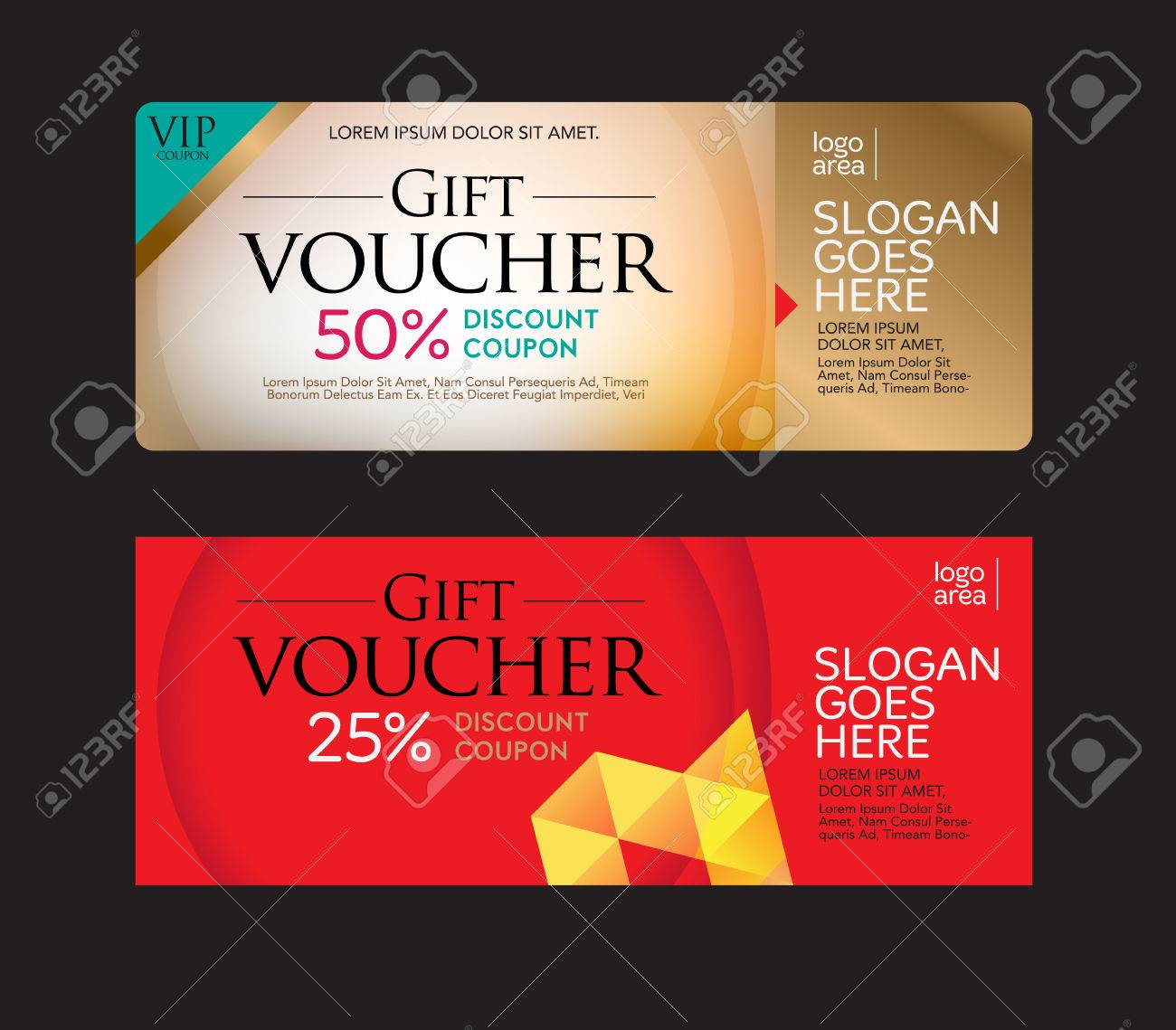 gift voucher and discount voucher template gold and red card