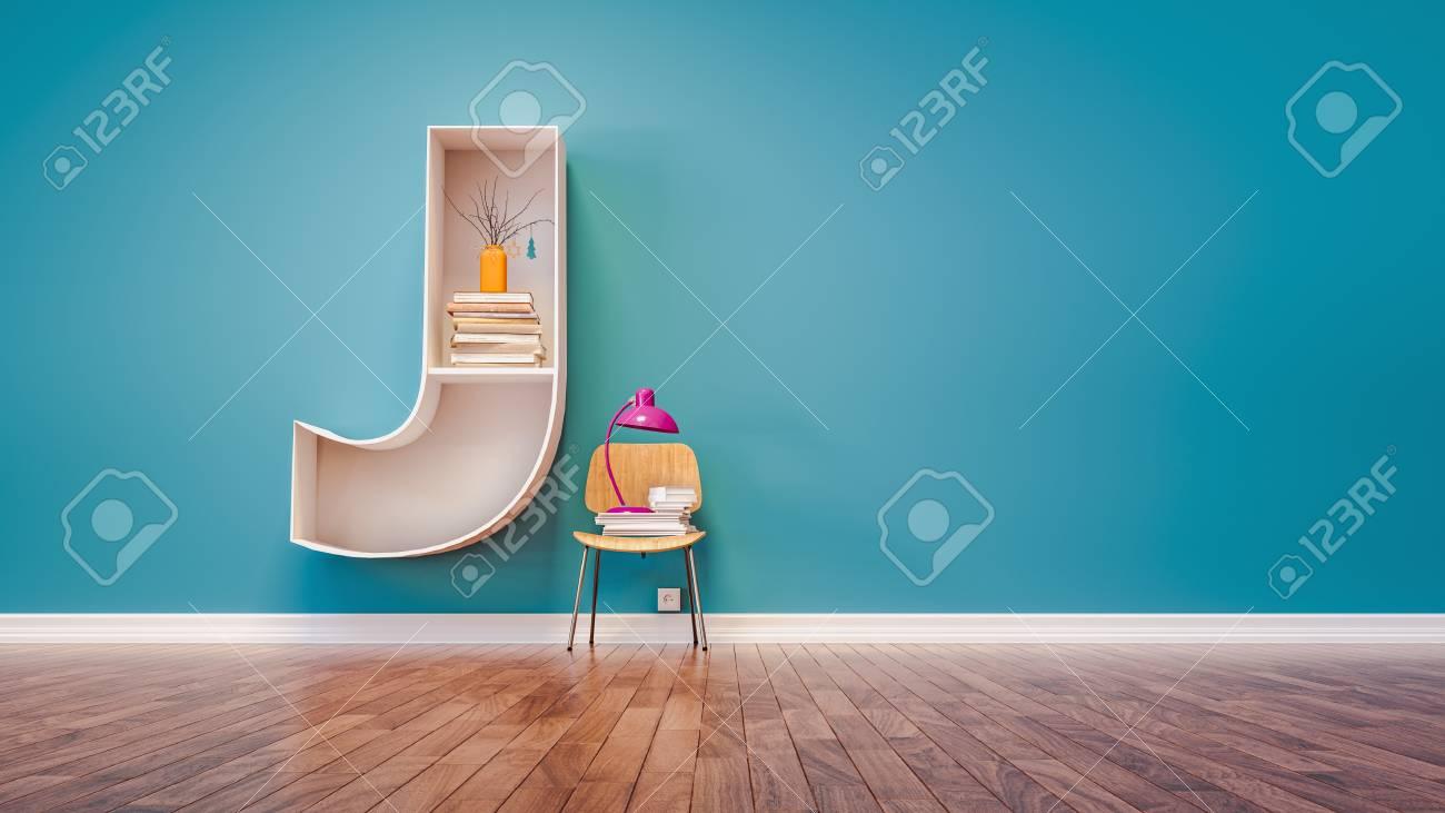 Room For Learning The Letter J Has Designed A Bookshelf 3d Render