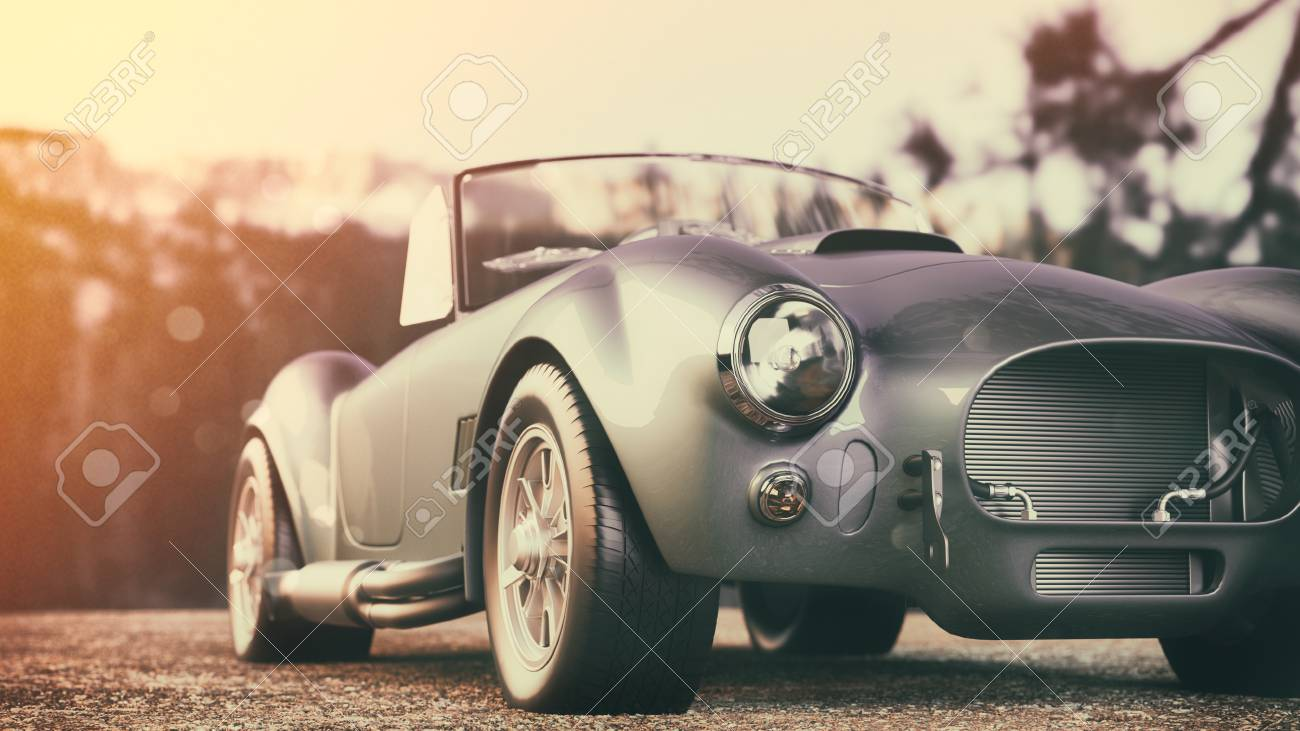 Classic car parked in the mountains in the morning. 3d render and illustration. - 83766199