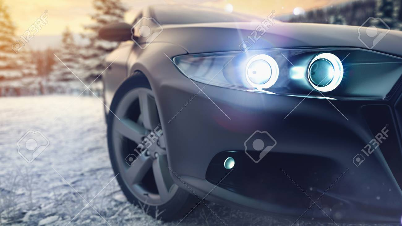 Christmas Sports Car.Sports Car Front There Is A Winter Background With Snow And A