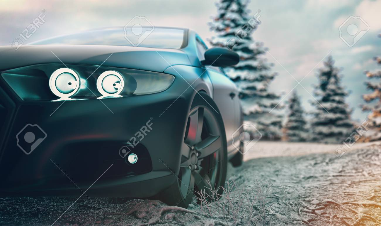 Christmas Sports Background.Sports Car Front There Is A Winter Background With Snow And A