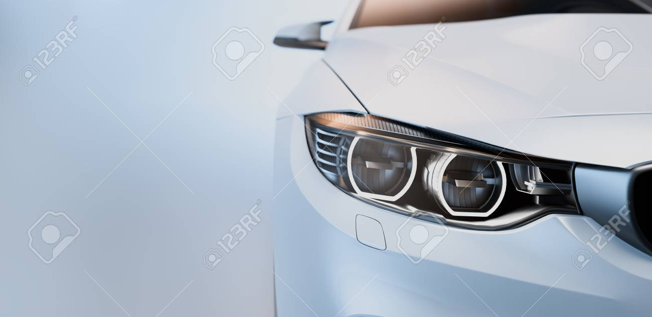 White Sports Car 3d Render Illstration Stock Photo Picture And