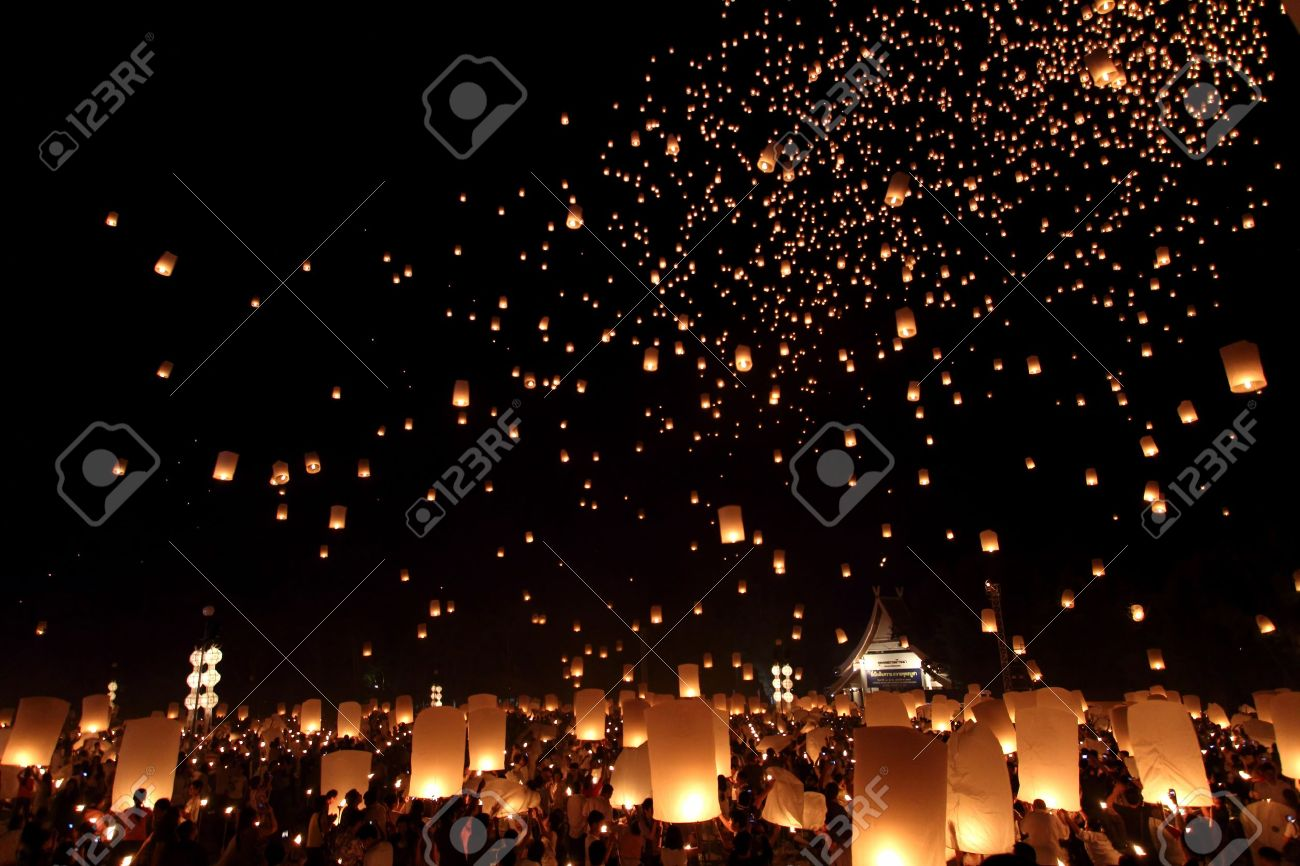 floating lantern festival in chiangmai thailand stock photo