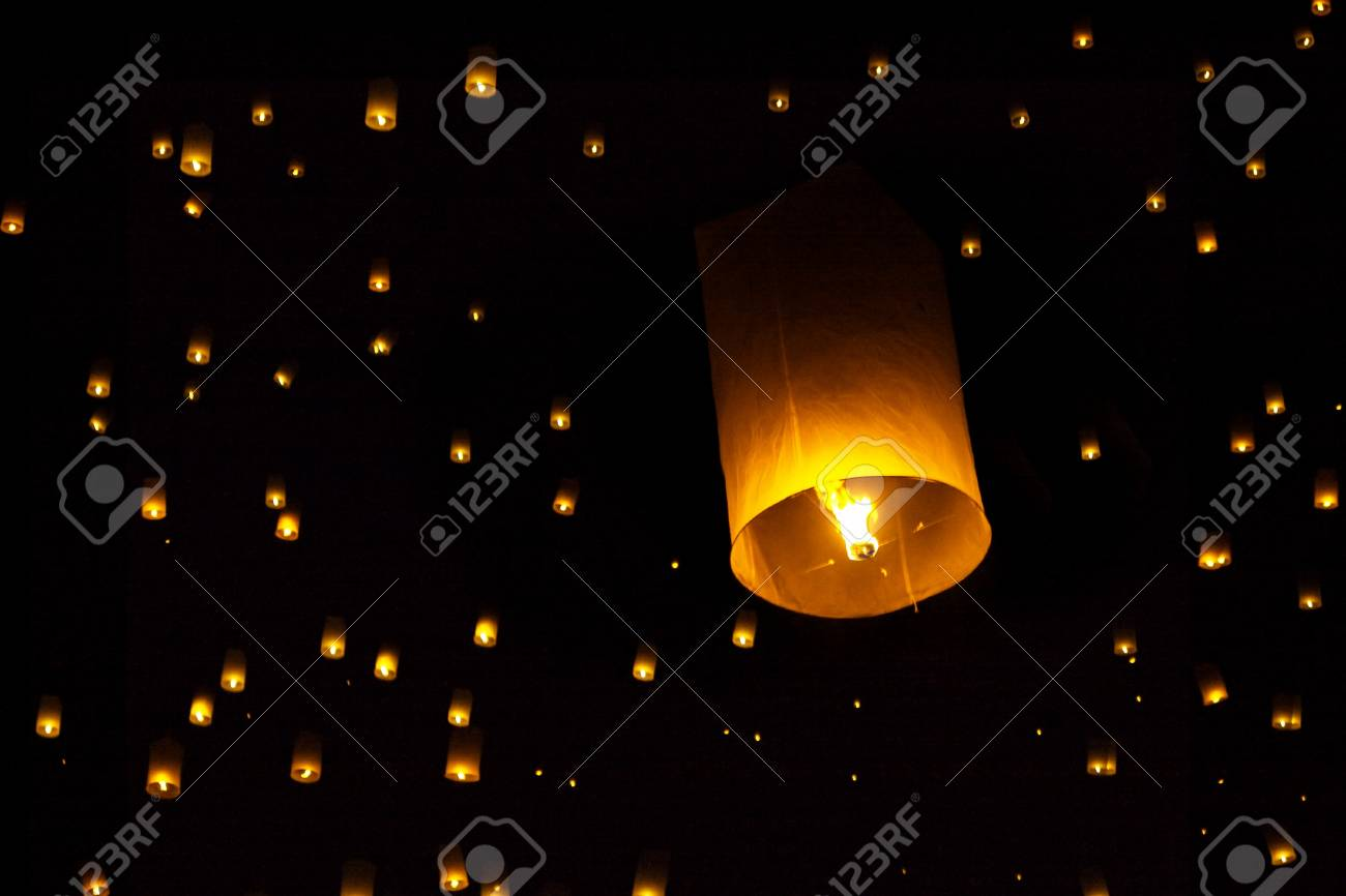 Yee Peng Firework Festival in Chiangmai Thailand Stock Photo - 11647562