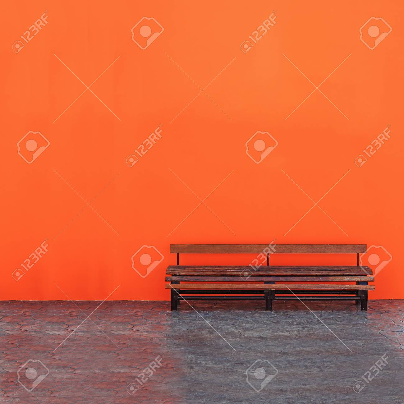 Vintage Bench Against blank Wall Stock Photo - 12233294