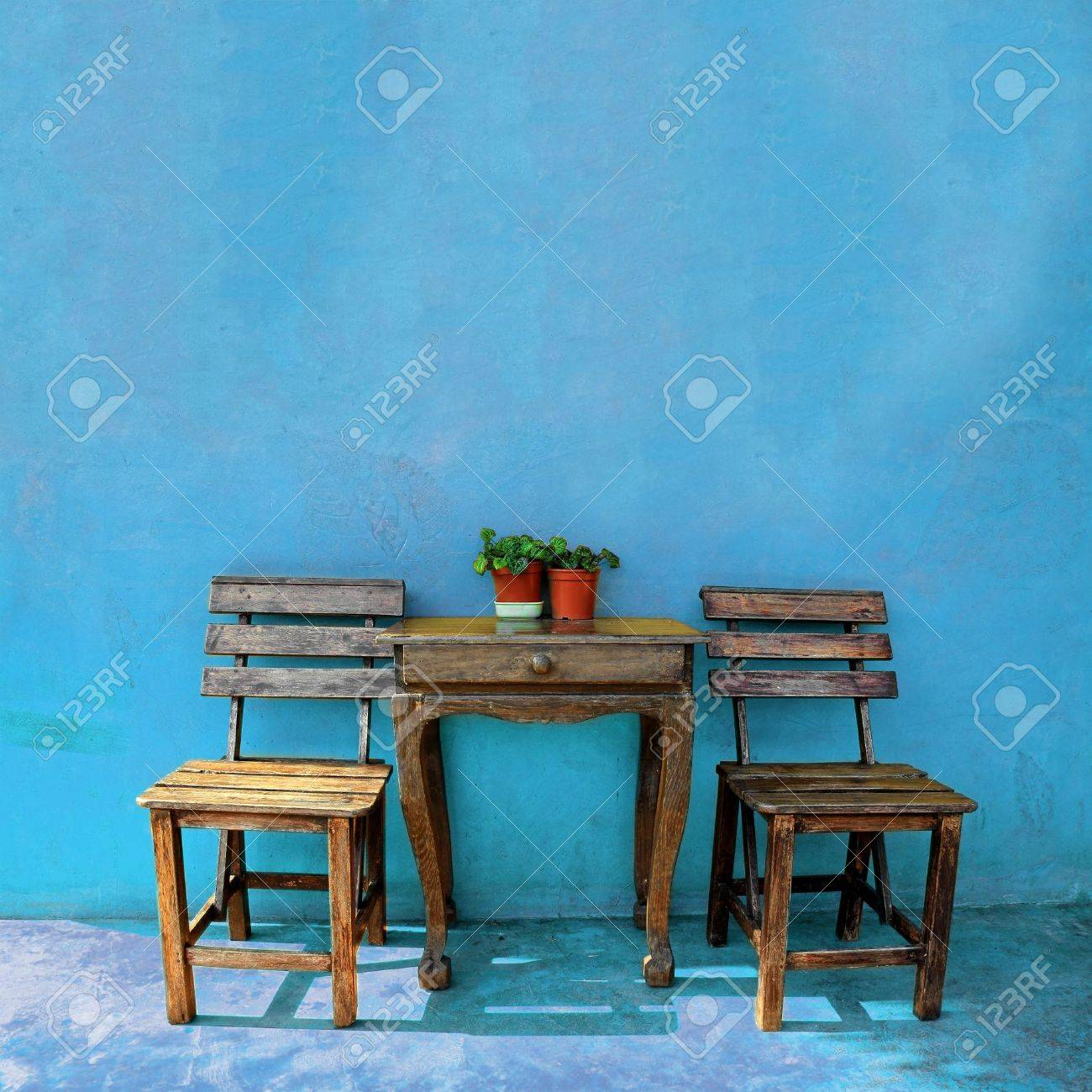 Old Vintage Wooden Chair And Table Stock Photo   14848651