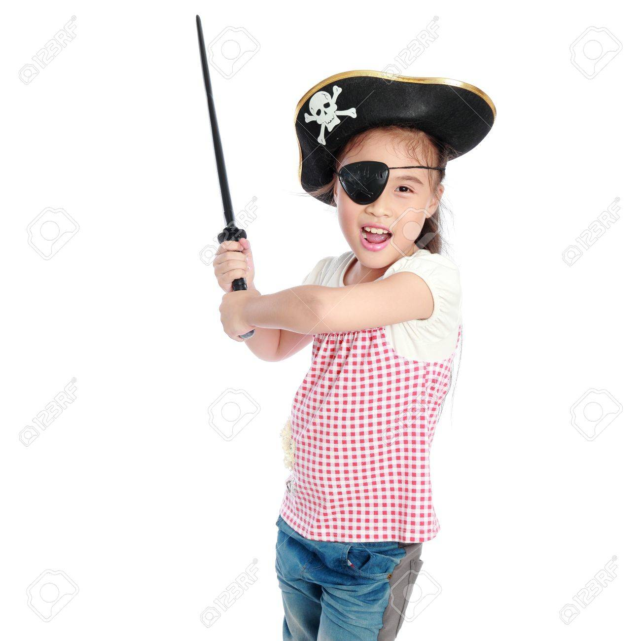 Pirate girl isolated white background - 15623058