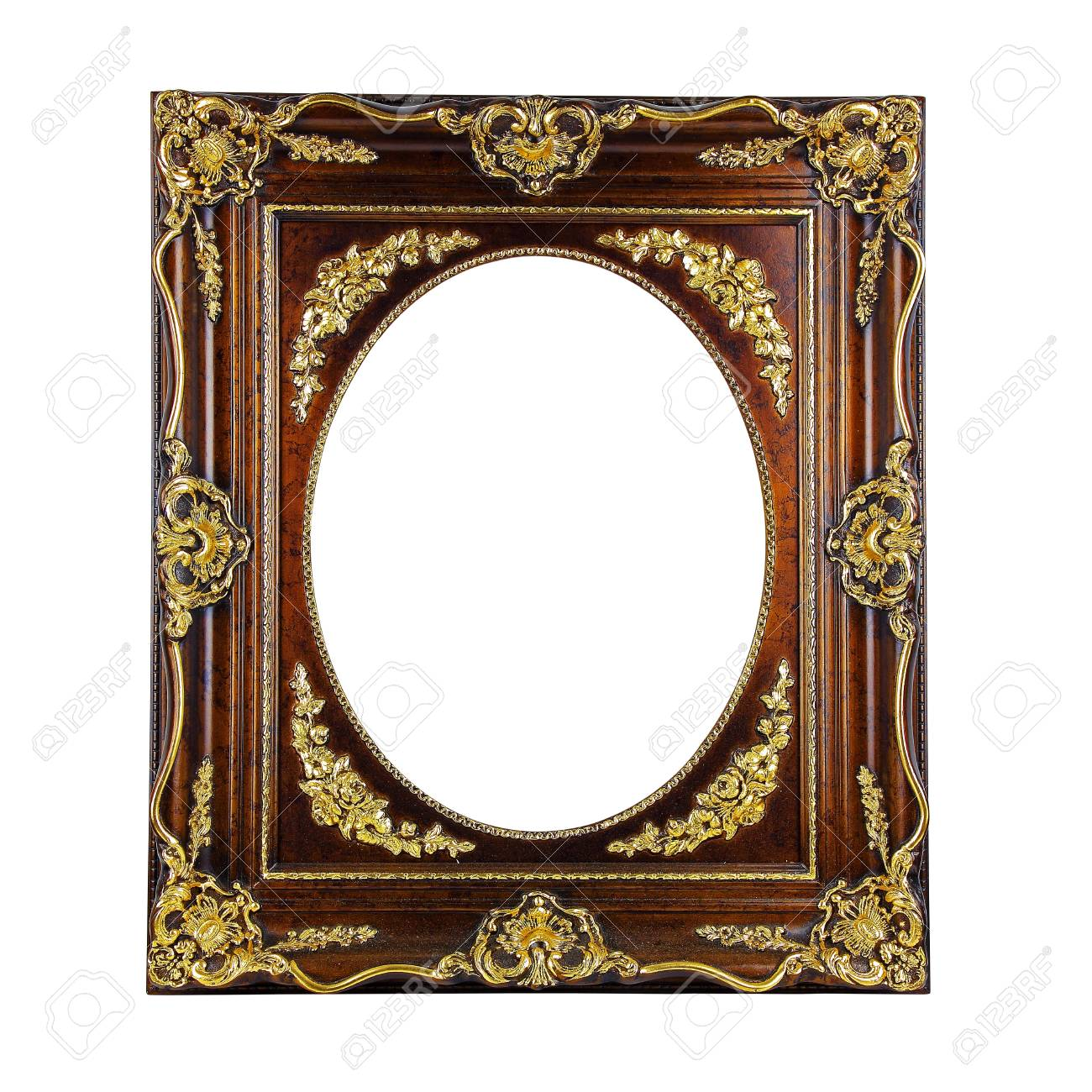 Gold Ornate Frame Isolated On A White Background Stock Photo ...