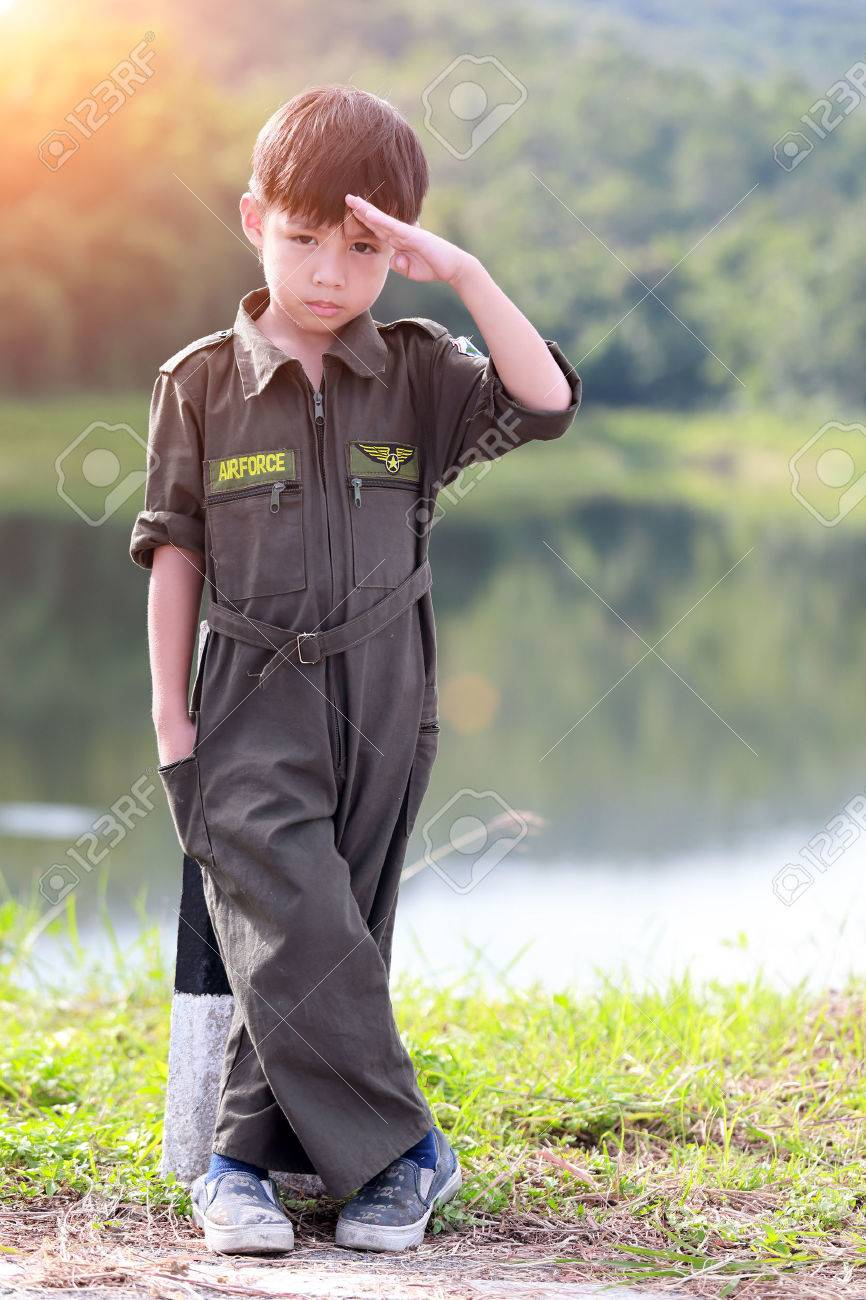 Young boy soldier in air force suit - 22458819